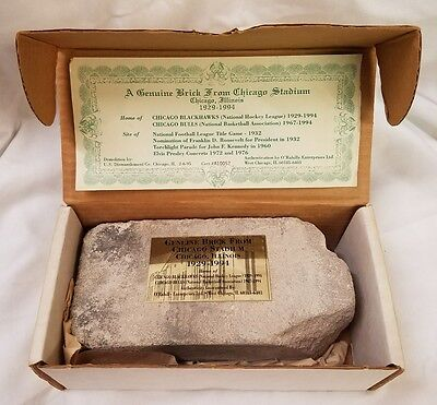 Genuine Brick From Chicago Stadium Chicago Illinois 1924-1994 in Original Box!