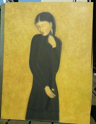 "Original Vietnamese Oil Painting On Canvas, Woman Clutching Hair, 24""x32"""