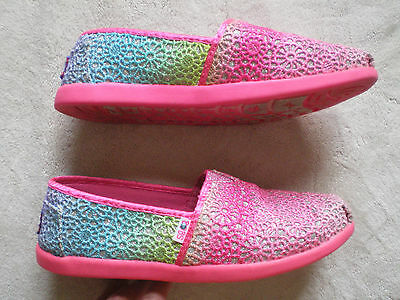 Girls BOBS By Skechers Shoes Size 3 Y ~ Pink & Multi-color  w/ leather insoles