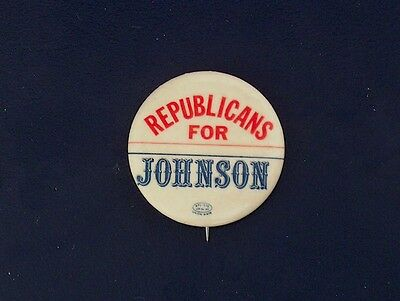 campaign pin pinback button political badge election JOHNSON ADVERTISING 1.25""
