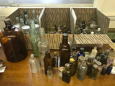 Large Lot of 100+ Antique Glass Bottles - Mix of Sizes - Embossed - Great Mix