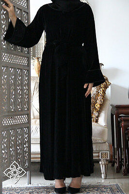 NEW DUBAI VELVET STYLE CLOSED Abaya Burkha Jalabiya Farasha Maxi Kaftan Dress
