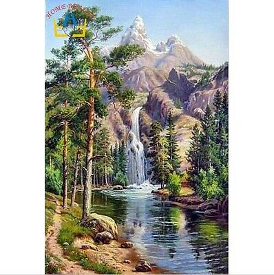 BNIP Oil-on-Canvas Painting By Numbers Kit :  Waterfall  16 x 20cm