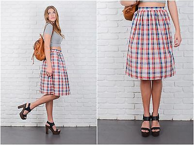 Vintage 80s Red + Blue Retro Skirt Plaid Striped High Waist A Line medium large