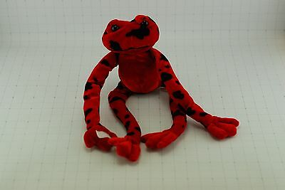 "RED rain forest FROG Plush doll Velcro hands 13"" IDEAL TOYS"