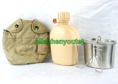 Military SET 1 QT TAN PLASTIC CANTEEN + TAN COVER VGC + STAINLESS CUP + LID NEW