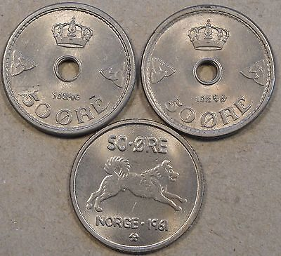 Norway 50 Ore 1946,48,+61 Unc-BU as pictured