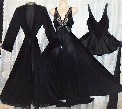VTG Black OLGA Peignoir Robe Full Sweep Nightgown Negligee + Babydoll Gown L XL