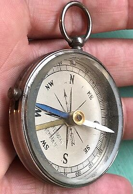 Estate Antique Friedmann Germany Beveled Glass Open Face Travel Pocket Compass