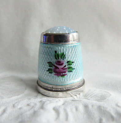 Vintage Sterling Silver Blue Top Guilloche Enamel Roses Thimble Needle Case Top