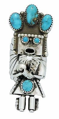 Doris Smallcanyon, Ring, Navajo Yei Dancer, Kingman Turquoise, Navajo, 8.5