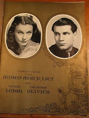 Romeo And Juliet Souvenir Program 1940 With Laurence Olivier And Vivien Leigh