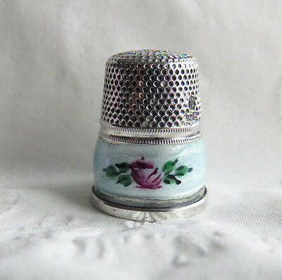 Vintage 925 Sterling Silver Gabler Brothers Guilloche Enamel Roses Thimble Sz 10
