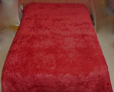 "Beautiful Vintage Red Crushed Velvet/velveteen Coverlet/bedspread 102"" X 87"""