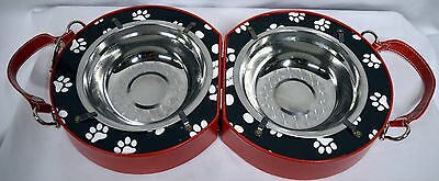 Pet Portable/Travel Doggy dish with Travel Case Red for a small Dog