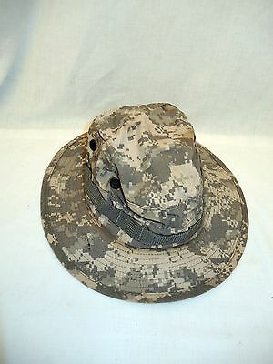 Us Military Camo  Bush Type Hat With  Chin Strap Size 7 1/2 - Usa