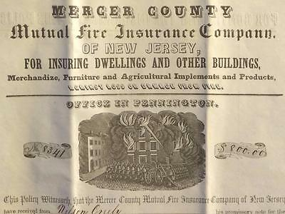 Mercer County Mutual Fire Insurance Co New Jersey 1851 $800 Policy 5 Year D1F2