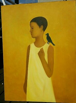 "Original Vietnamese Oil Painting On Canvas, Child With Blackbird, 24""x32"""