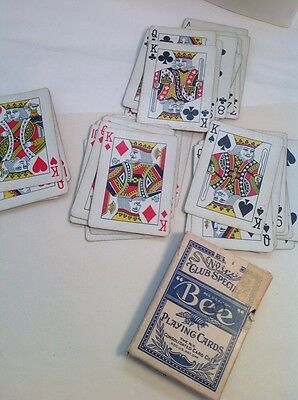 TAX STAMP OPEN Vintage 1940? ONE DECK BEE No 92 Playing cards Back No 67