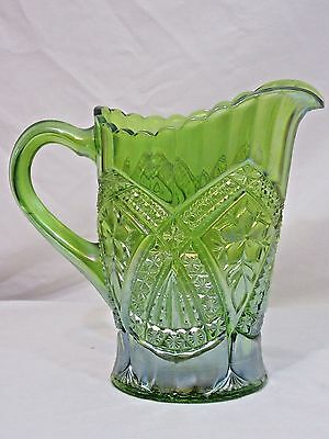 Tiara Ware Pitcher Indiana Glass Green Carnival Eclipse Flower Medallion 1.5 qt