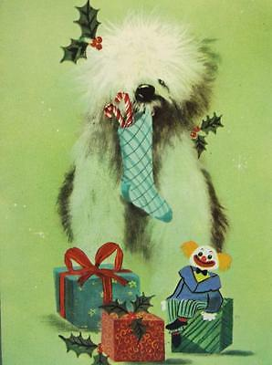 Vintage Christmas Card Sheep Dog Holding Stocking Creepy Clown Toy Presents