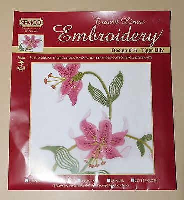 Rare Semco Traced linen Embroidery - Runner - Tiger Lilly - to embroider.