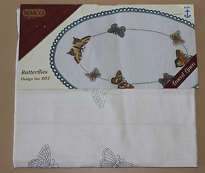 Rare Semco Traced linen Embroidery - Runner - Butterflies - to embroider.
