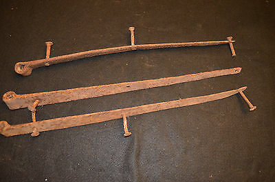 """Antique Hand Forged 24"""" Barn Strap Hinges"""
