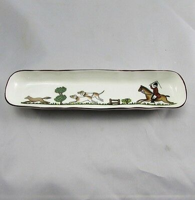 "Vintage Crown Staffordshire Hunting Scene Cracker Olive Tray 8.5"" Excellent"