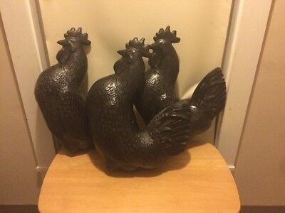 Three Proud Plastic Roosters 🐔🐔🐔