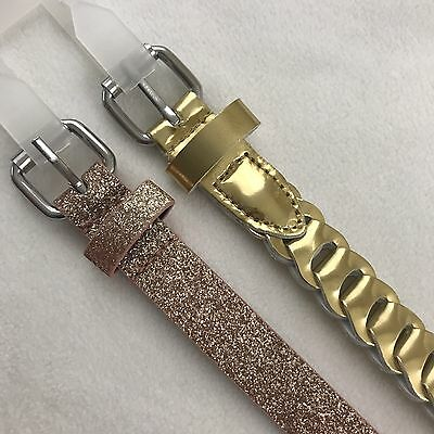 Girl Belt Set of Two Peach Glitter and Gold Size Small 26.5 Inches Long
