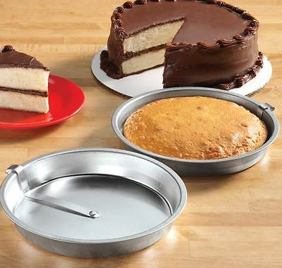 Cake Pans 8 Inch Round Easy Release Set of 2 for Double Layer Cakes Pops Out