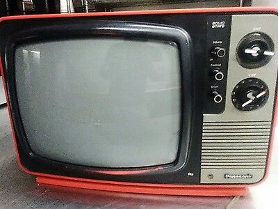 Vintage Retro 1970's Red Panasonic Television Black/White Solid State TV Model T
