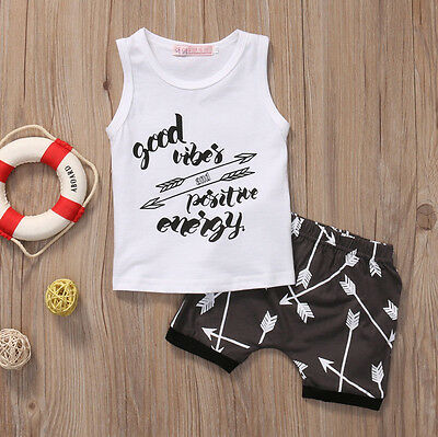 US Stock Toddler Kids Baby Boy T-shirt Tops+Shorts Summer Outfits Clothes Set