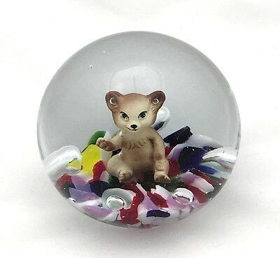 2003 Gibson Glass Sulphide Paperweight With Waving Bear