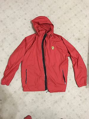 NEW Ferrari Mens F1 Red Lightweight Windbreaker Rain Jacket