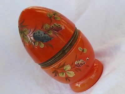 Vintage Czechoslovakia Glass Egg Shaped Decanter Set Hand Decorated Orange glass