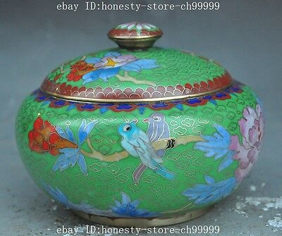 "6"" chinese palace bronze Cloisonne Flower Bird statue Tanks Crock Pot Jar Jug"