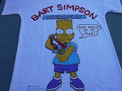 Vintage Bart Simpson Underachiever Sleep Shirt T Shirt New Old Stock Juniors NWT