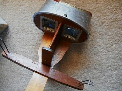 STEREO SCOPE VIEWER w/ Vintage Photos H.G.White France expo 1900 Estate find!