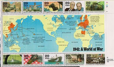 "USA Souvenir Sheet  MNH ""1941: A World at War"" 1st sheet WWII series  Sc #2559"