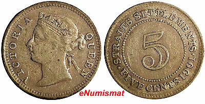 STRAITS SETTLEMENTS Silver  1901  5 CENTS  VF Condition  KM#10