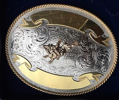 "Vintage Rodeo Montana Silversmith Thick Solid Metal Belt Buckle! 5*4"" Boxed!"
