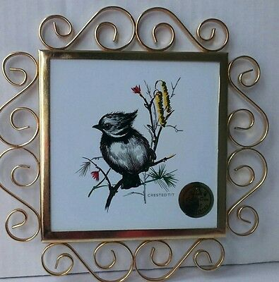 Ceramics Teapot Stand, Crested Tit in 22KT Gold Plated Frame