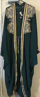 Green Cocoon Flapper Cape Embroidered Peacock Gold Lame Tassels Raglan Sleeves