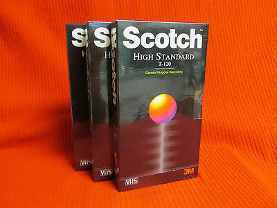 3 High Standard 3M Videocassette T-120 VHS Tape 6 Hrs.  New- sealed