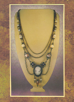 Antique Bronze Chain & Gemstone Cameo Festoon Pendant Necklace 7651