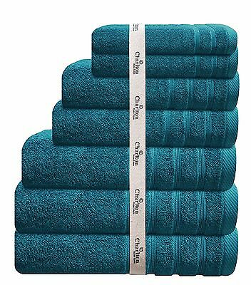 7 PCE AQUA EGYPTIAN COTTON TOWEL SET 2x BATH / HAND / FACE TOWELS 1 x MAT TEAL