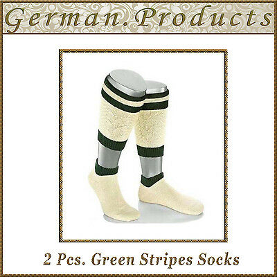 Lederhosen German Bavarian Oktoberfest Trachten 2 Pcs. Green Stripes Mens Socks