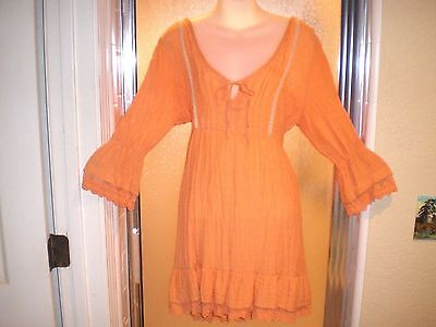 Vintage Darling Orange Cotton Gauze Peasant Style Shorter Dress Sz 14 Lace Trim